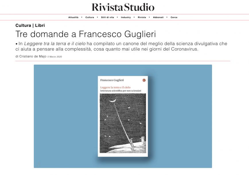 Leggere la terra e il cielo su «Rivista Studio»